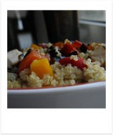 Grilled Chicken with Roasted Peppers, Onions and Quinoa